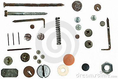 Old rusty Screw heads, bolts, steel nuts, isolated