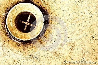 Old rusty sink drain