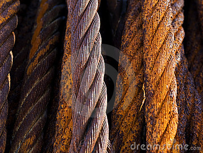 Old rusty steel cables