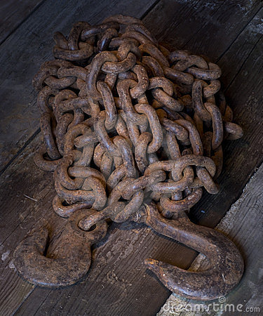 Old rusty steel chain