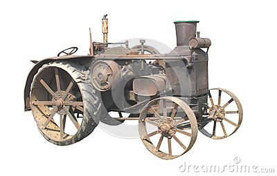 Old rusty tractor isolated