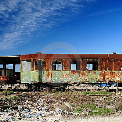 Old rusty train cars