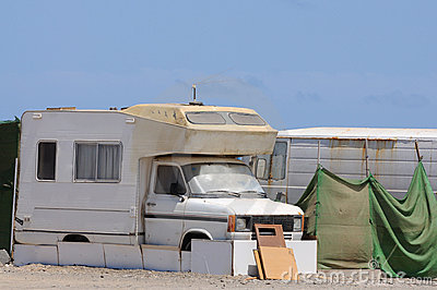 Old RV in a trailer park