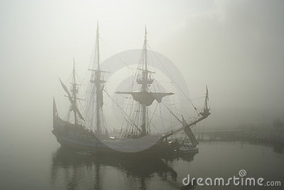 Old sail ship (Pirate?) in the fog