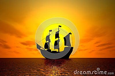 Old sailing ship at sunset