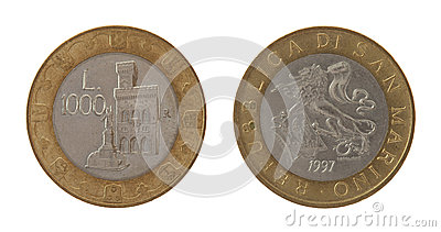 Old Sammarinese Coin Isolated on White