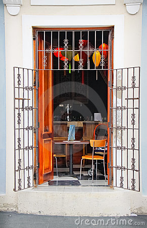 Old San Juan - Caribbean Alfresco Cafe Editorial Photography