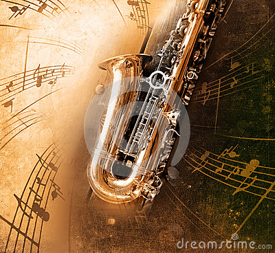 Old Saxophone with dirty background