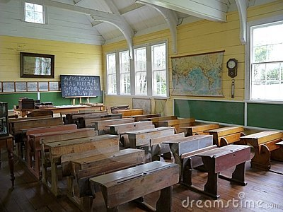 Old School: Classroom With Desks - H Stock Photo - Image: 22707770