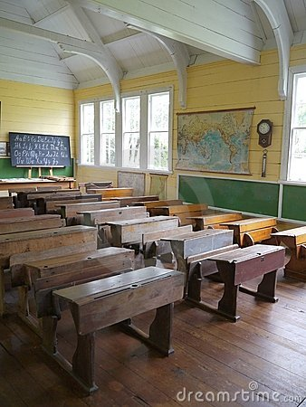 Old school: classroom with desks - v