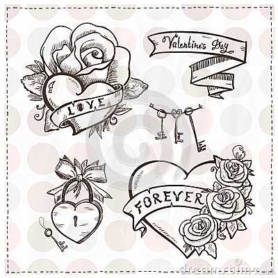 Old School Graphic Hearts With Roses And Ribbons Stock