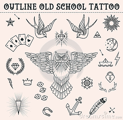 Free Old School Tattoo Set. Cartoon Tattoo Elements In Funny Style:anchor, Owl, Star, Heart, Diamonds, Scull, Swallow. Outline S Royalty Free Stock Image - 62816256