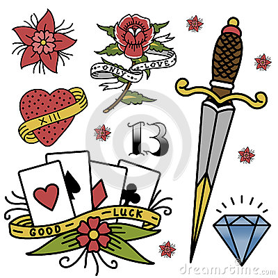 Free Old School Vintage Retro Tattoo Ink Art Style Hand Drawn Tattooing Symbol Traditional Graphic Drawing Vector Royalty Free Stock Images - 94404629