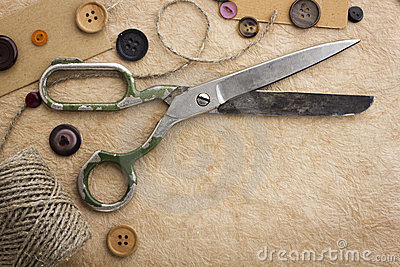 Old scissors and buttons