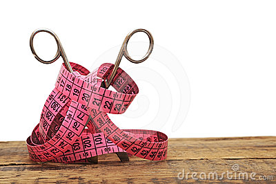 Old scissors and measuring tape