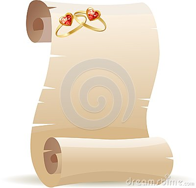 Old scroll for wedding invitation
