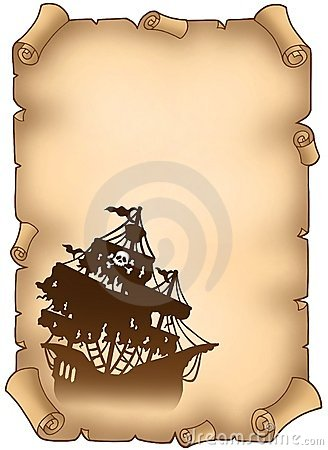 Free Old Scroll With Mysterious Pirate Ship Royalty Free Stock Photos - 12255098