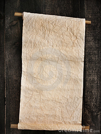 Old scroll on wooden