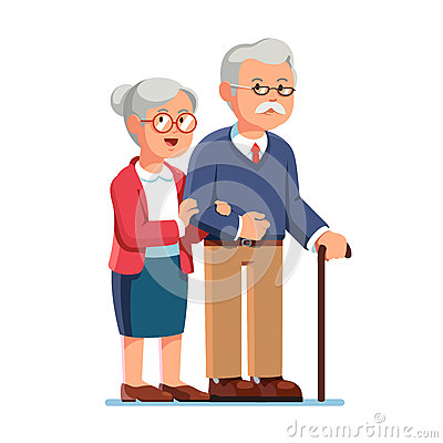 Old senior man and aged woman standing together Vector Illustration