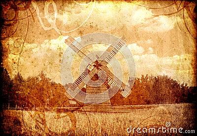 Old sepia windmill