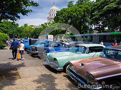 Old shabby american cars in Cuba Editorial Stock Photo