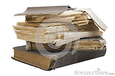 The old shabby retro books