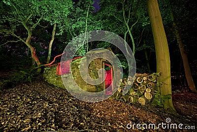 Old shack at night