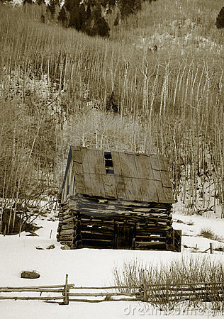 Old shack in snow