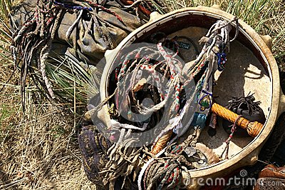 Old shaman traditional accessories and belongings - ceremonial s