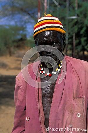 Old shepherd Turkana (Kenya) Editorial Photo