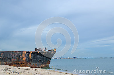 Old ship on the beach
