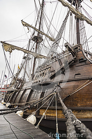 Free Old Ship Galleon Details In Maine Royalty Free Stock Photos - 81034718