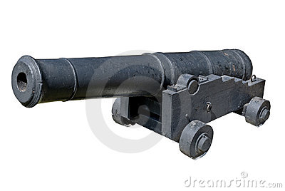 Old ship gun on a coastal position