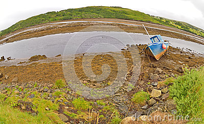 Old ship in  ireland with fisheye lenses