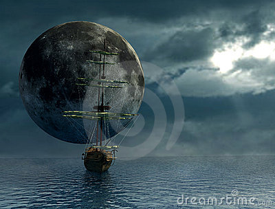 Old ship and the moon