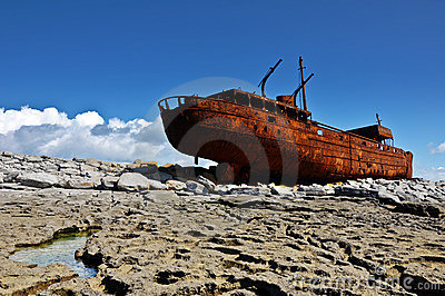Old ship off the west coast ireland