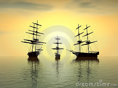 Old ships at sunset