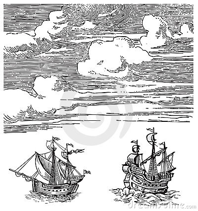 Old ships vector
