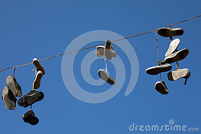 Old shoes in the air
