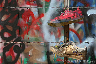 Old shoes and graffiti