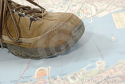 Old shoes traveling world alone