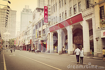 Old shopping street in sunset, urban city street Guangzhou Beijing Street in China
