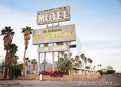 An Old Sign Over Old Motel In Arizona, USA Royalty Free Stock Photos - Image: 14089098