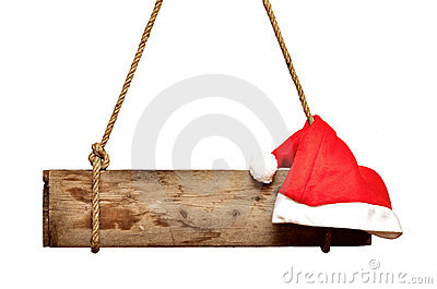 Old signboard with Santa s hat