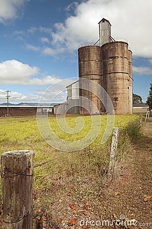 Old silo wheat or corn barn from farmhouse