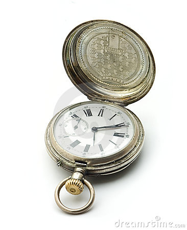 Old silver pocket clock