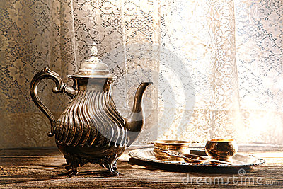 Old Silver Teapot and Tea Serving Accessories Tray