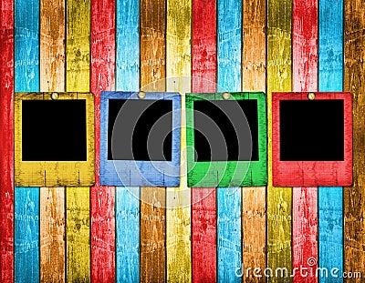 Old slides on the wooden background