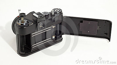 Old SLR photo camera. Opened body