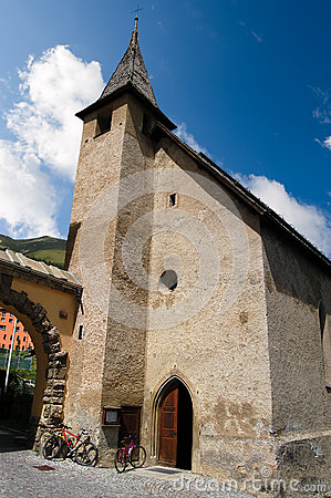 Free Old Small Church - Zuoz Engadine Switzerland Royalty Free Stock Image - 80818796